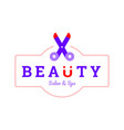 beauty salon and spa logo with scissor icon vector image vector image