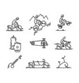 bicycle bike types icon cycling set thin vector image