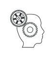 brain gears head silhouette idea icon vector image vector image
