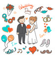 bride and groom wedding elements doodle vector image