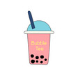 bubble or pearl milk tea or boba flat color icon vector image vector image