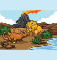 cartoon of triceratops and stegosaurs in the vector image vector image