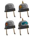 cartoon old retro german soldier helmets vector image