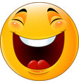 cartoon smiley emoticon laughing vector image