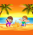 children playing in the beach vector image