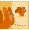 chipmunk cute animal cartoon vector image vector image