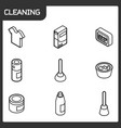 cleaning outline isometric icons vector image vector image