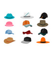 collection of various types of hats isolated vector image