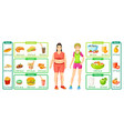 colorful weight loss infographics vector image vector image