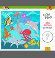 count the sea animals activity game vector image vector image