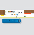 crowd of people waiting and getting on bus vector image vector image