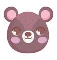 cute brown bear head character cartoon vector image vector image