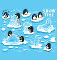 cute little penguins creates ice statues on the vector image