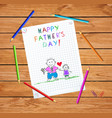 dad and son happy fathers day doodle greeting card vector image vector image