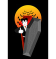 Dracula in coffin Thumbs up shows well Vampire vector image vector image