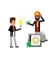 european businessman holding idea light bulb vector image