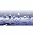 fairy winter landscape with road houses and snowy vector image vector image