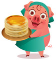female pig cook keep stack of pancakes shrovetide vector image