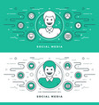 flat line social media and network concept vector image vector image