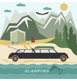 glamor camping flat design landscape with vector image vector image