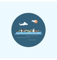 Icon with colored cargo container ship vector image vector image