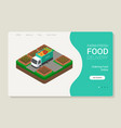 isometric farm food delivery website template vector image
