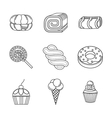 Linear icons for desserts vector image vector image
