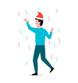 man in a christmas hat celebrates holiday vector image