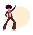 Man in afro wig and 1970s style clothes dancing vector image vector image