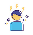 man with thunders flat style icon vector image vector image