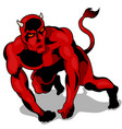 muscular red devil vector image vector image