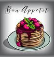 pancake breakfast cafes berries vector image vector image