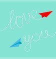 red and blue origami paper planes dash line text vector image