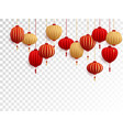 red and gold chinese lanterns on transparent vector image vector image