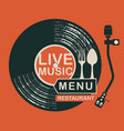 restaurant menu with record player and cutlery vector image