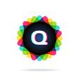 Retro bright colors Logotype Letter Q vector image