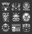 rock music festival icons hard skull guitar vector image
