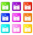 royal castle icons 9 set vector image vector image