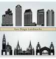 San Diego landmarks and monuments vector image vector image