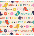 seamless pattern of birds and flowers vector image