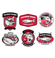 set bundle salmon fishing badge set vector image vector image