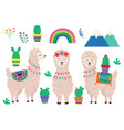 set isolated cute llama and cactus vector image vector image