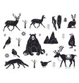 set northern animals silhouettes vector image