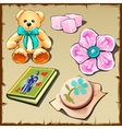 set toys and hobitems for girls five images vector image