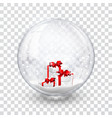 snow globe ball with gift boxes realistic new vector image