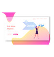 step aida model website landing page woman vector image vector image