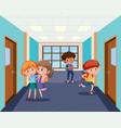 student at school hallway vector image vector image