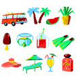 summer vacations cartoon icons set vector image vector image