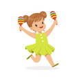 sweet little girl playing maracas young musician vector image vector image