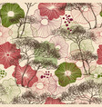 trees and flowers seamless pattern nature print vector image